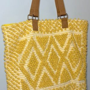 😍 Yellow boho tote bag! ✨ crocheted front! 😍
